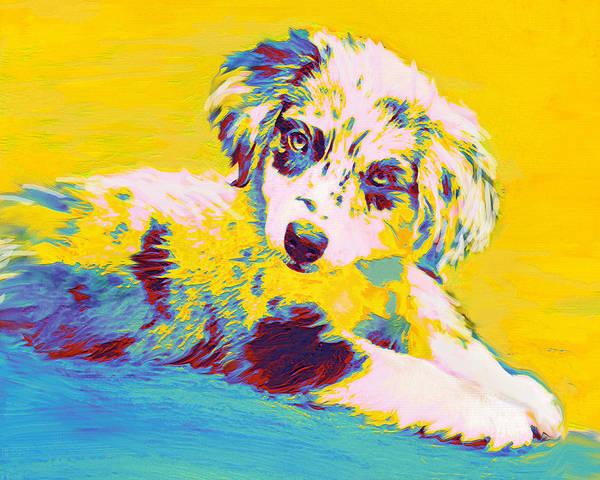 Aussie Art Print featuring the digital art Aussie Puppy-yellow by Jane Schnetlage