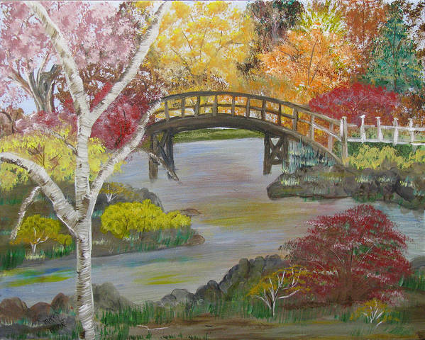 Landscape Art Print featuring the painting Autum Bridge by Mikki Alhart