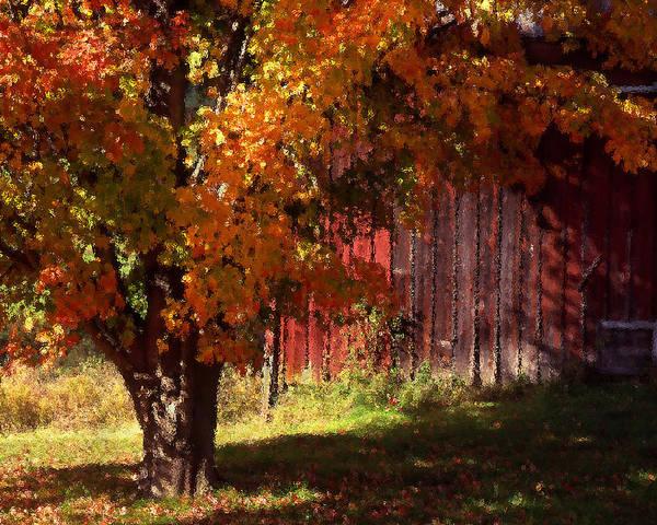Landscape Art Print featuring the photograph Autumn Barn by Barry Shaffer