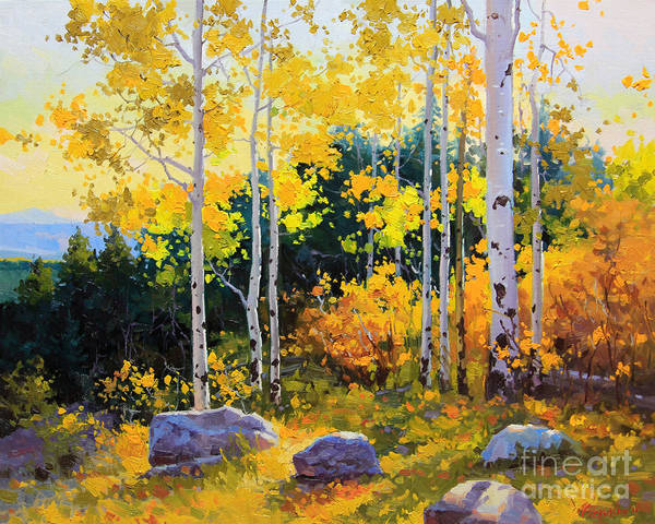 Nature Art Print featuring the painting Autumn Beauty Of Sangre De Cristo Mountain by Gary Kim