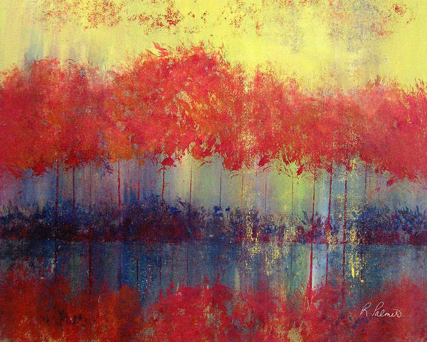 Abstract Art Print featuring the painting Autumn Bleed by Ruth Palmer