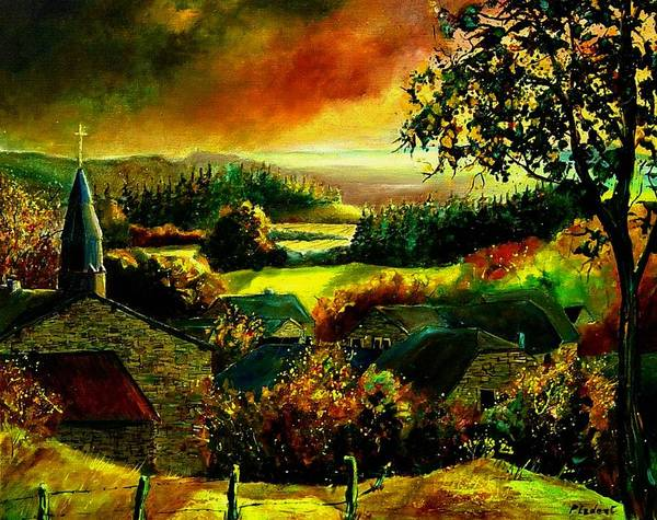 Landscape Art Print featuring the painting Autumn In Our Village Ardennes by Pol Ledent