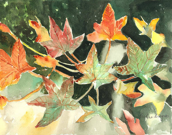 Leaf Art Print featuring the painting Autumn Leaves by Arline Wagner