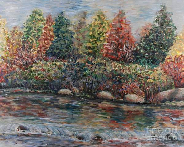 Autumn Art Print featuring the painting Autumn Stream by Nadine Rippelmeyer