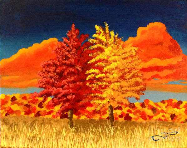 Acrylic Art Print featuring the painting Autumn Twins by Joseph Finchum