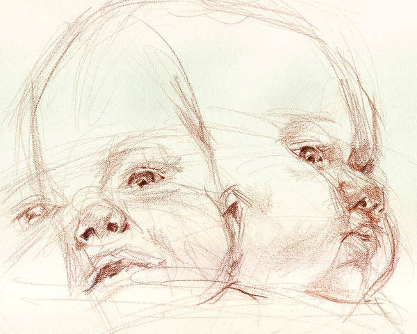Portrait Art Print featuring the drawing Awake by Sarah Madsen