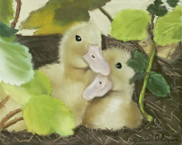 Ducks Art Print featuring the painting Babies In The Berry Bush by Brenda Williams