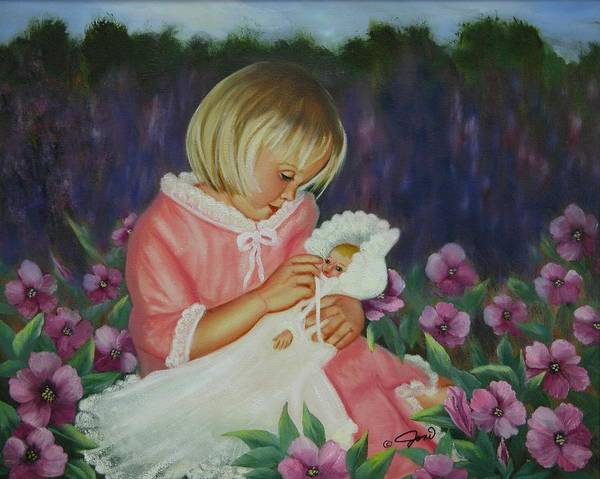 Portrait Art Print featuring the painting Baby Doll by Joni McPherson