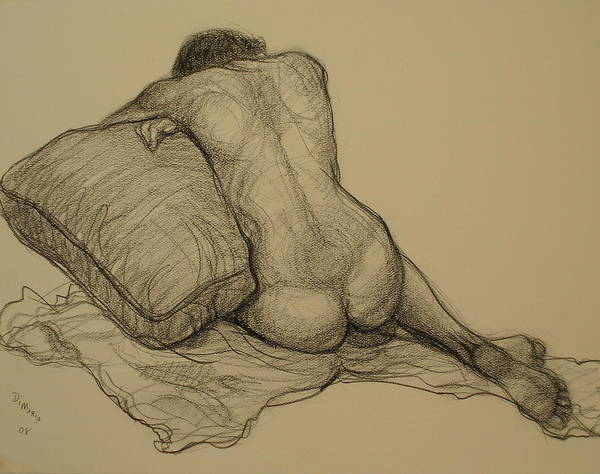 Realism Art Print featuring the drawing Back Nude 3 by Donelli DiMaria