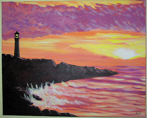 Seascape Art Print featuring the painting Bahia At Sunset by Marco Morales