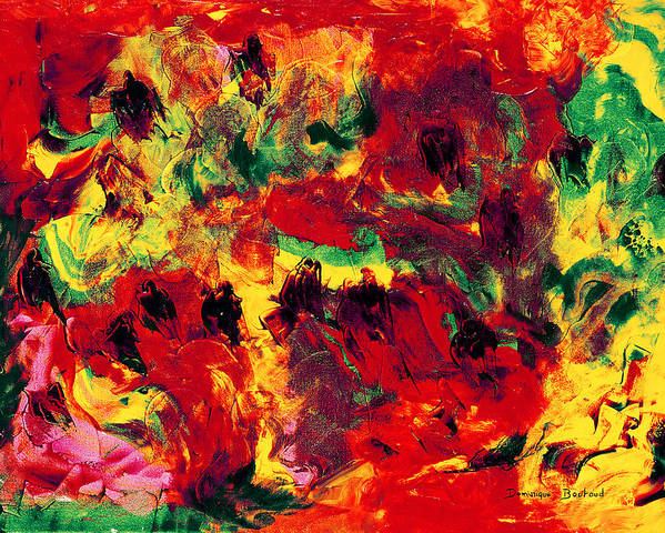 Abstract Art Print featuring the painting Bain De Soleil by Dominique Boutaud