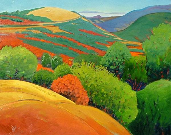 California Landscape Art Print featuring the painting Bald Hill by Gary Coleman