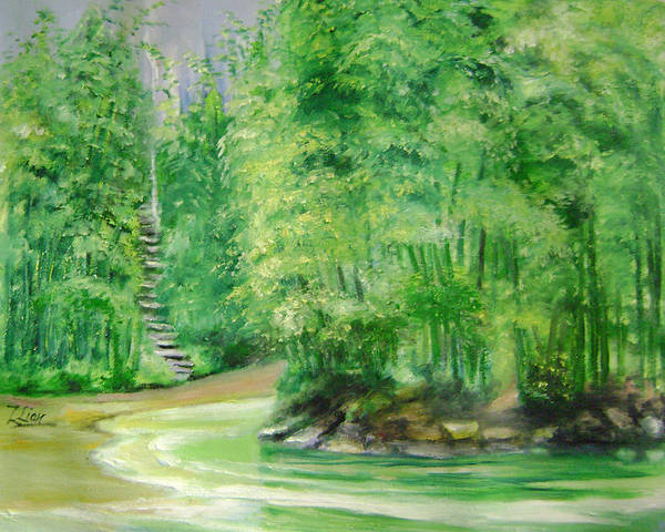 Landscape Art Print featuring the painting Bamboo Forests 1 by Lian Zhen