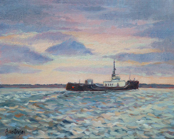 Maritime Art Print featuring the painting Barge On Port Phillip Bay by Ekaterina Mortensen