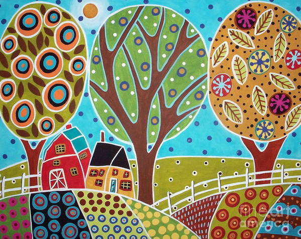 Landscape Art Print featuring the painting Barn Trees And Garden by Karla Gerard