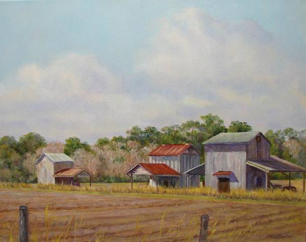 Art Print featuring the painting Barns Times Three by Elaine Bigelow