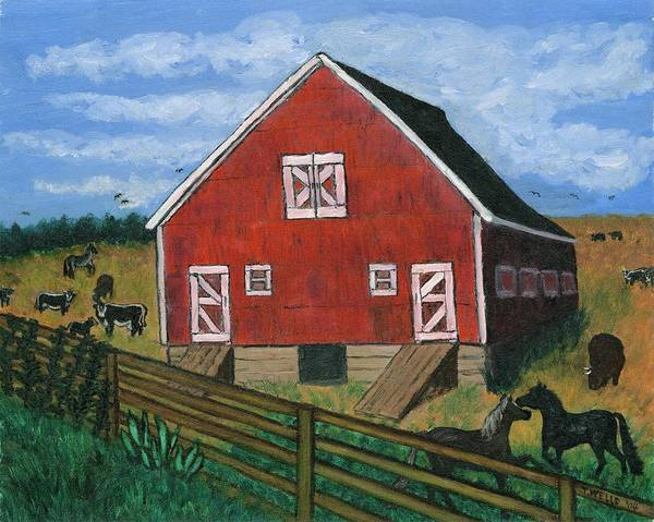 Big Red Barn Surrounded By Horses Art Print featuring the painting Barnyard On The Prairie by Tanna Lee M Wells