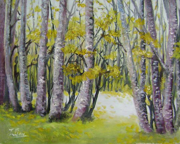 Landscape Art Print featuring the painting Barren Trees by Lian Zhen
