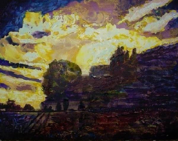 Purples Art Print featuring the painting Basics Clouds II by Helen Musser