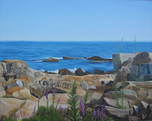 Seascape Art Print featuring the painting Bass Rocks Gloucester by Lea Novak
