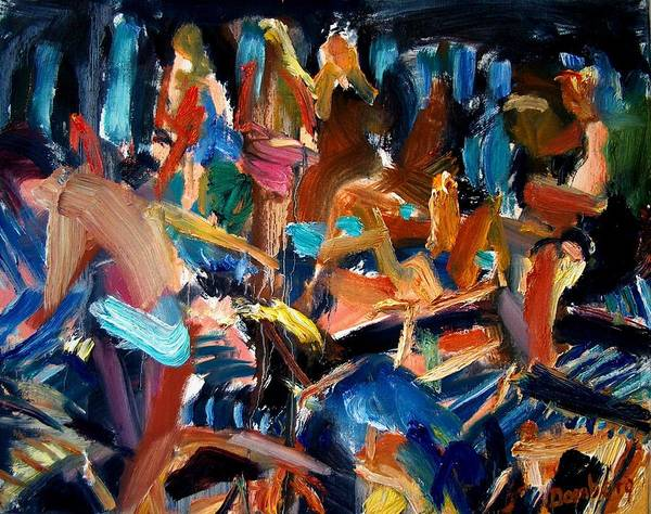 Dornberg Art Print featuring the painting bathers By the Pool On Deck by Bob Dornberg
