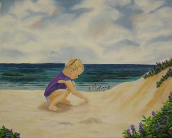 Child Art Print featuring the painting Beachcomber by Susan Kubes