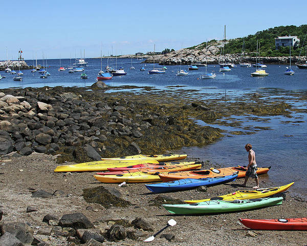 Boats Art Print featuring the photograph Beached Kayaks At Rockport Harbor by James Hoolsema
