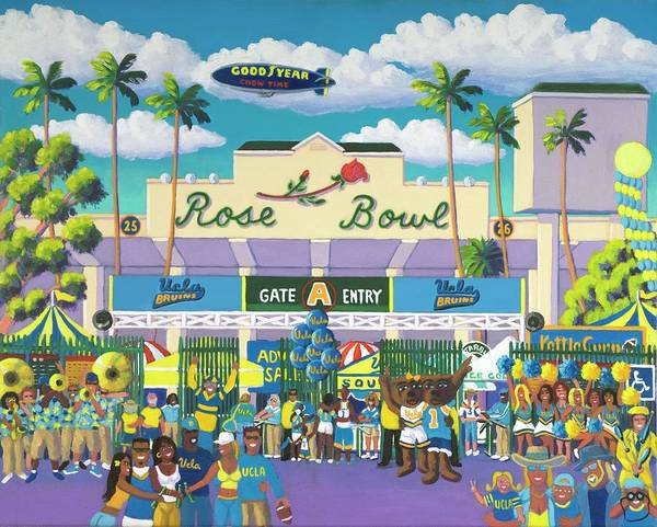 Ucla Bruins Art Print featuring the painting Beautiful Downtown Bruinville by Frank Strasser