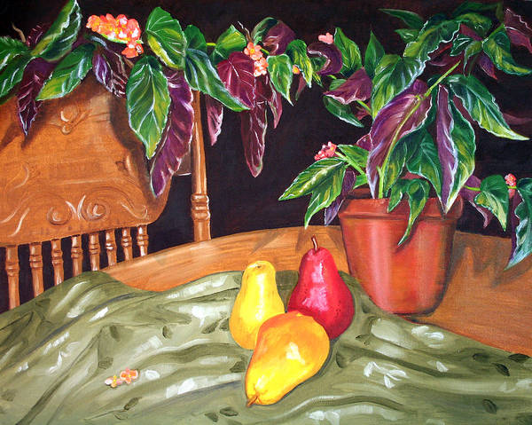 Still Life Art Print featuring the painting Begonias And Pears by Dorothy Riley