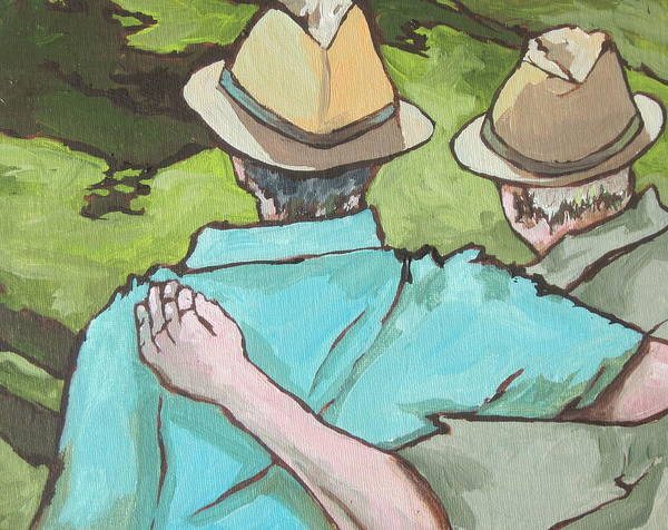 Men Art Print featuring the painting Best Friends by Sandy Tracey