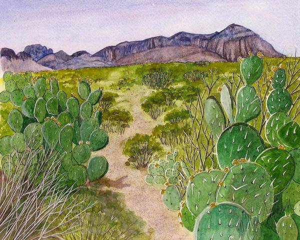 Big Bend National Park Art Print featuring the painting Big Bend Landscape by Myrna Salaun