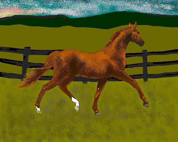 Horse Art Print featuring the digital art Big Duke by Carole Boyd