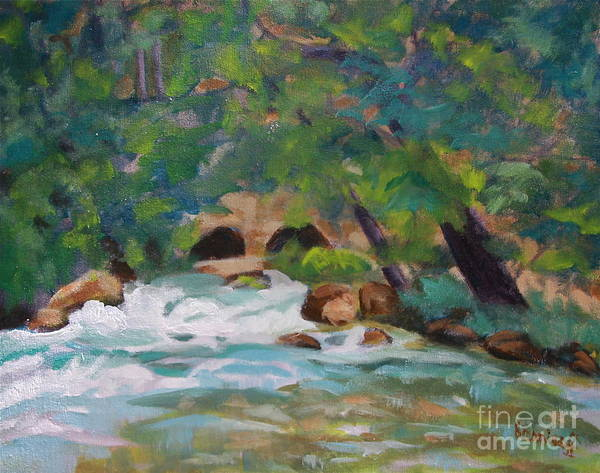 Impressionistic Art Print featuring the painting Big Spring On The Current River by Jan Bennicoff