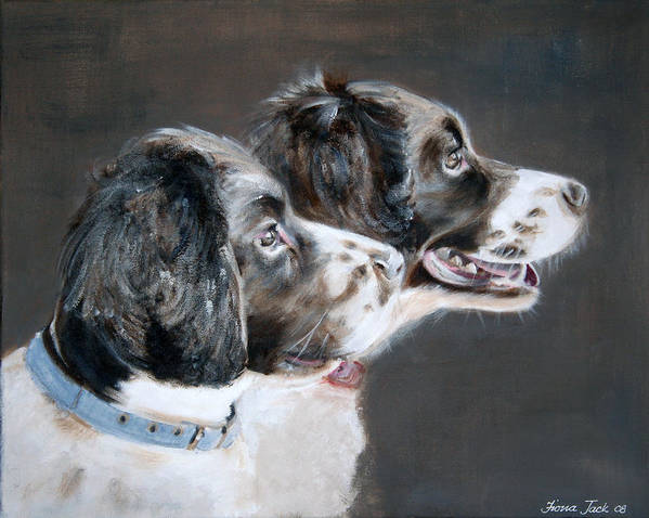 Dogs Art Print featuring the painting Bill And Ollie by Fiona Jack