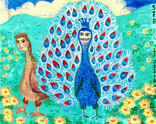Sue Burgess Art Print featuring the painting Bird People Peacock King And Peahen by Sushila Burgess