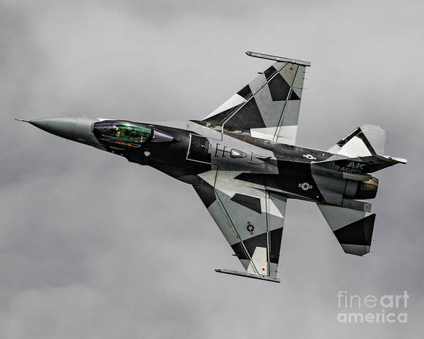 18th Aggressor Squadron Art Print featuring the photograph Black And White 18th Aggressor Sqn Viper Topside Against The Grey by Joe Kunzler