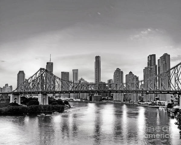 Brisbane Art Print featuring the photograph Black And White Brisbane Landscape by Chris Smith