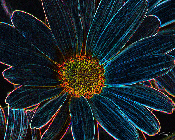 Flower. Neon Art Print featuring the digital art Bloom by Melody Crighton