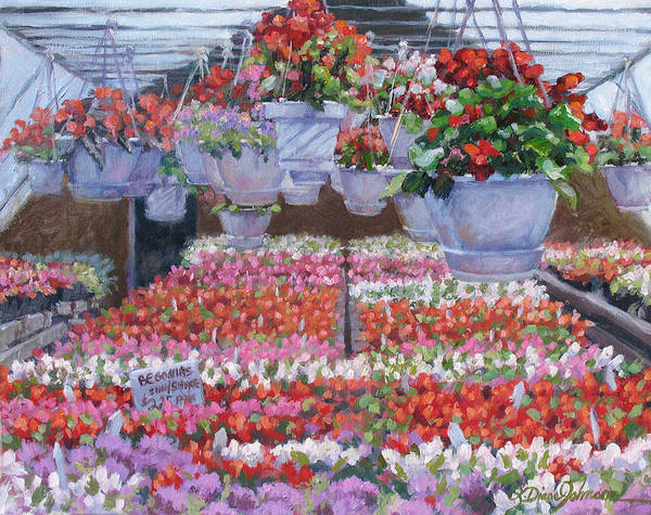 Greenhouse Garden Art Print featuring the painting Blooms Ablaze by L Diane Johnson