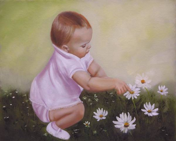 Baby Art Print featuring the painting Blossom Among The Flowers by Joni McPherson