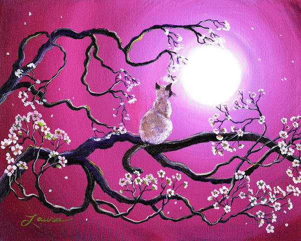 Siamese Cat Art Print featuring the painting Blossoms In Fuchsia Moonlight by Laura Iverson