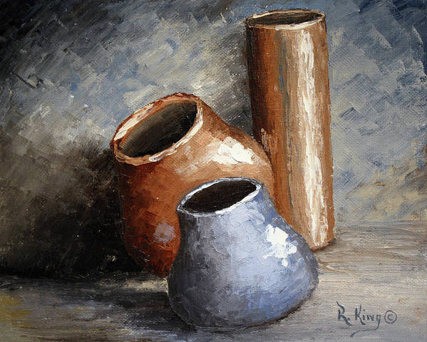 Roena King Art Print featuring the painting Blue And Brown Pots by Roena King