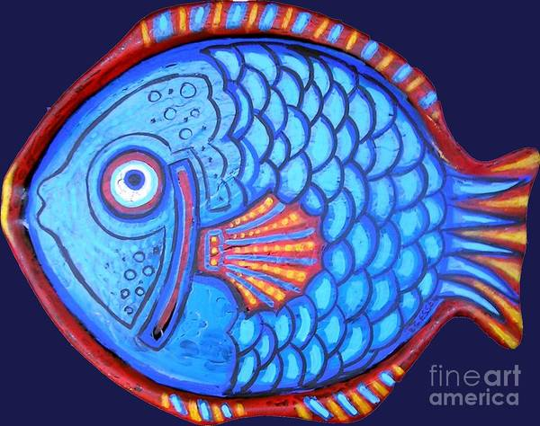 Fish Art Print featuring the painting Blue And Red Fish by Genevieve Esson