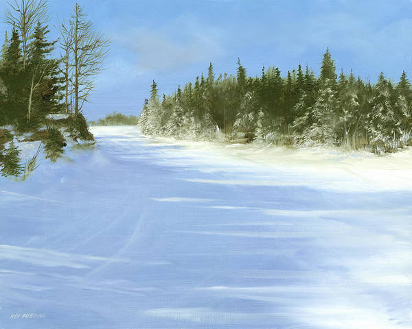 Ski Art Print featuring the painting Blue Cruiser by Ken Ahlering