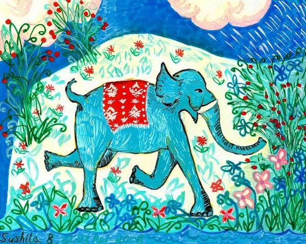 Sue Burgess Art Print featuring the painting Blue Elephant Facing Right by Sushila Burgess
