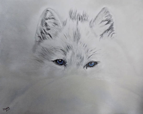 Wolf Art Print featuring the painting Blue Eyes by Maris Sherwood