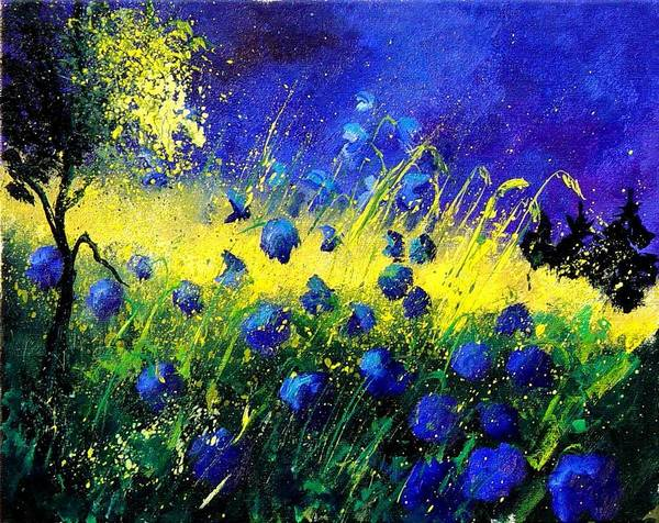 Flowers Art Print featuring the painting Blue Poppies by Pol Ledent