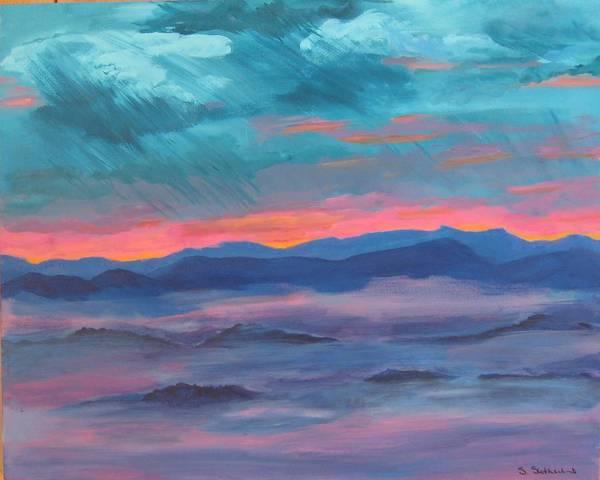 Mountain Range Art Print featuring the painting Blue Ridge I by Sheryl Sutherland