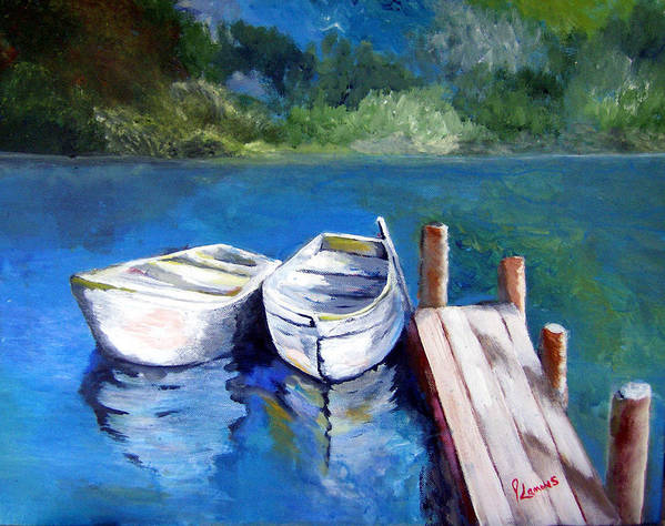 Landscape Art Print featuring the painting Boats Docked by Julie Lamons