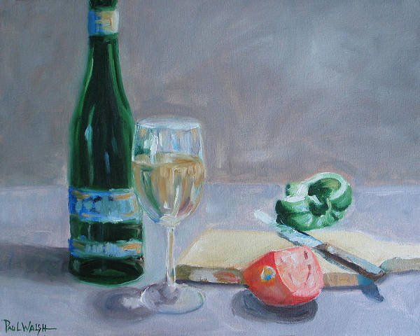 Wine Art Print featuring the painting Bon Appetite by Paul Walsh